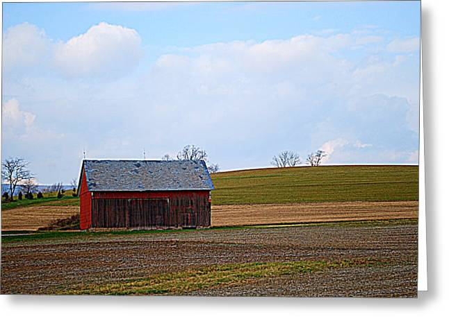 Red Roofed Barn Greeting Cards - Small Pennsylvania Barn Greeting Card by Patricia Motley