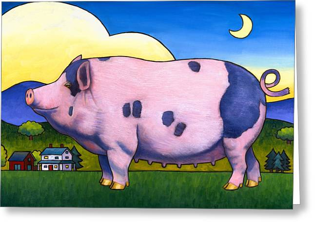 Pigs Greeting Cards - Small Pig Greeting Card by Stacey Neumiller