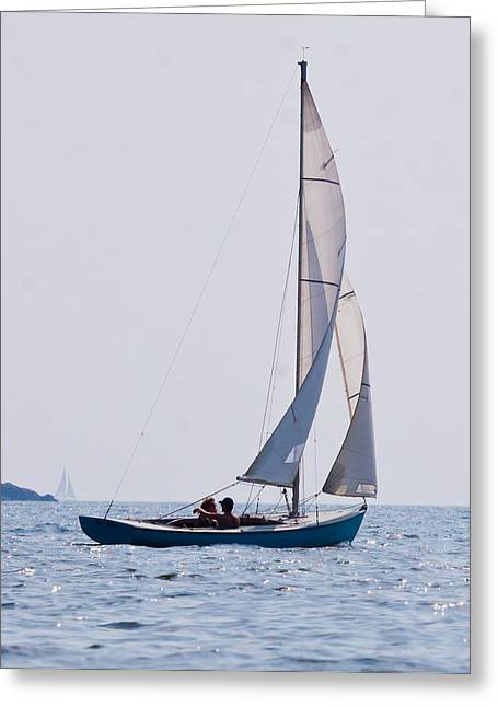 Vacationland Greeting Cards - Small Point Phippsburg Sail Greeting Card by Robin R Robinson