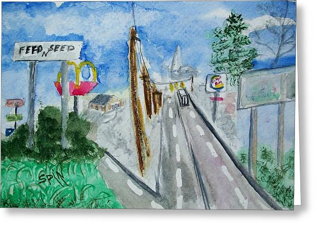Burger King Greeting Cards - Small Town City Limits Greeting Card by Spencer  Joyner