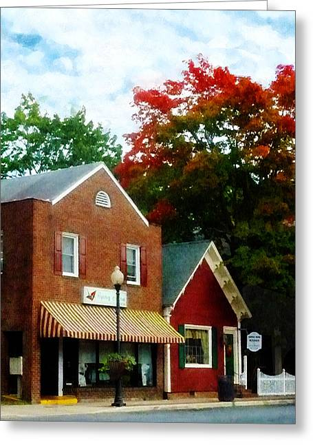 Suburban Greeting Cards - Small Town in Autumn Greeting Card by Susan Savad