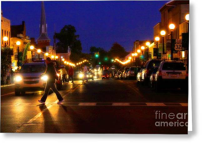 Small Town Life Greeting Cards - Small Town Night Life Greeting Card by Randy Steele
