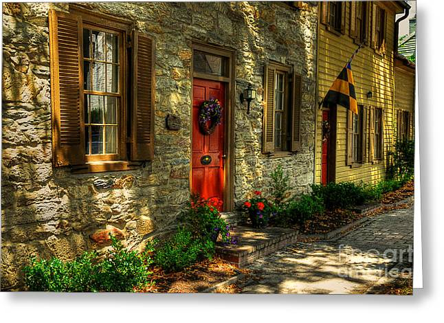 Small Town Scene Greeting Cards - Small Town USA Greeting Card by Lois Bryan