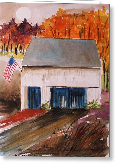 Barn Door Drawings Greeting Cards - Small White Barn Greeting Card by John  Williams