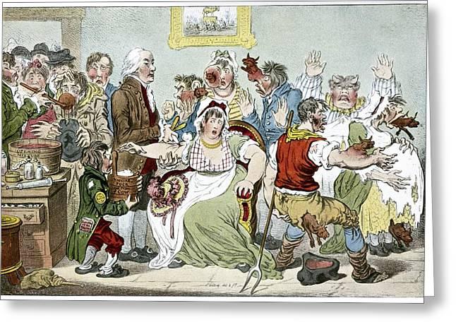 Die Karikatur Und Satire In Der Medizin Greeting Cards - Smallpox Vaccination, Satirical Artwork Greeting Card by