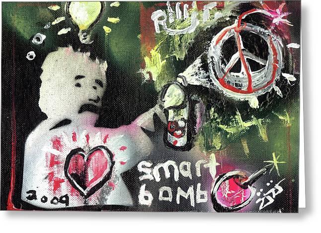 Smart Mixed Media Greeting Cards - Smart Bomb Greeting Card by Robert Wolverton Jr