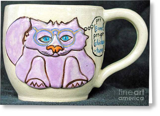 Whimsical. Ceramics Greeting Cards - Smart Kitty Mug Greeting Card by Joyce Jackson