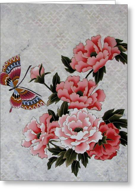 Bud Tapestries - Textiles Greeting Cards - Smelling the Flowers Greeting Card by Judy Sauer