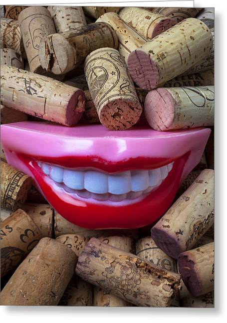Vintner Greeting Cards - Smile among wine corks Greeting Card by Garry Gay