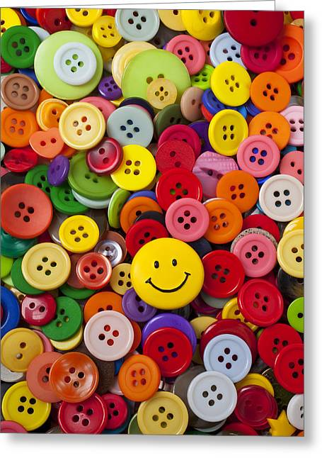 Smiley Greeting Cards - Smiley face button Greeting Card by Garry Gay