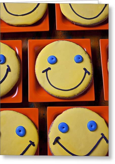 Smiley Greeting Cards - Smiley face cookies Greeting Card by Garry Gay