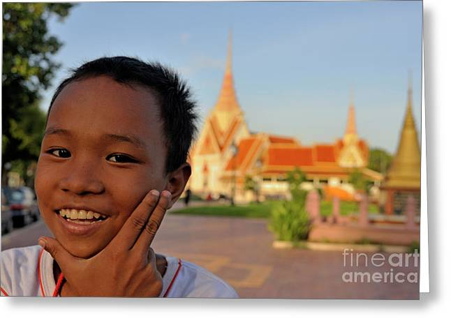 Toothy Smile Greeting Cards - Smiling boy portrait by the Royal Palace Greeting Card by Sami Sarkis