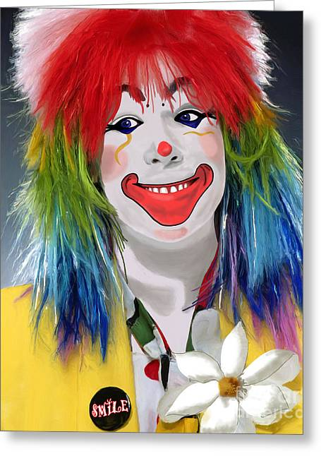Smiling Clown Greeting Card by Methune Hively