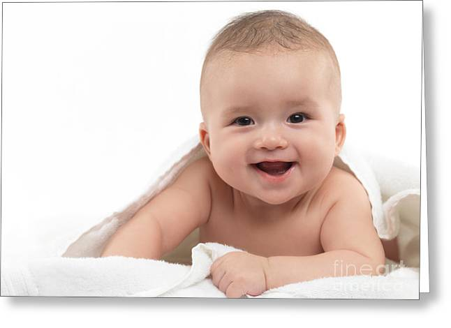 Artistic Expression Greeting Cards - Smiling Four Month Old Baby Boy Greeting Card by Oleksiy Maksymenko