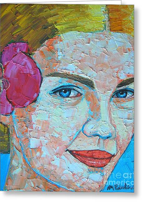 Eyebrow Greeting Cards - Smiling Girl Greeting Card by Ana Maria Edulescu