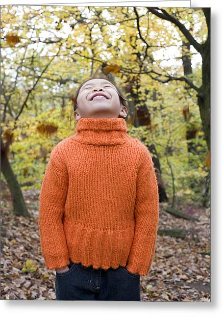 Child Care Greeting Cards - Smiling Girl In A Wood Greeting Card by Ian Boddy