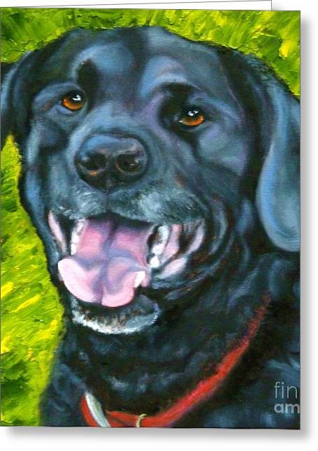 Note Cards Drawings Greeting Cards - Smiling Lab Greeting Card by Susan A Becker