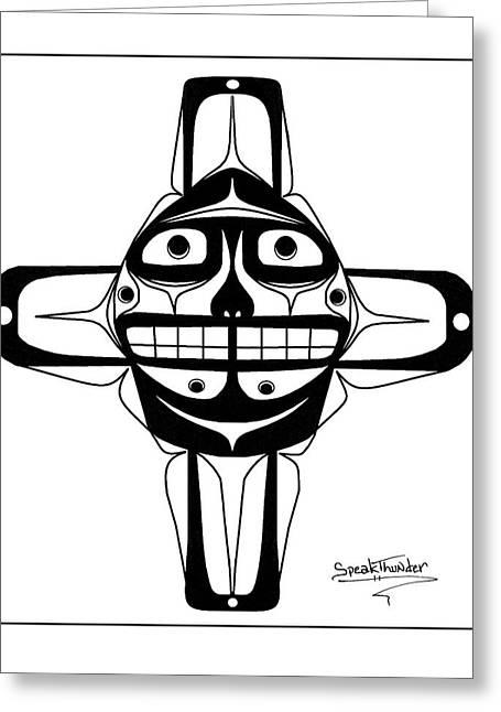 Speakthunder Berry Greeting Cards - Smiling Sun black Greeting Card by Speakthunder Berry