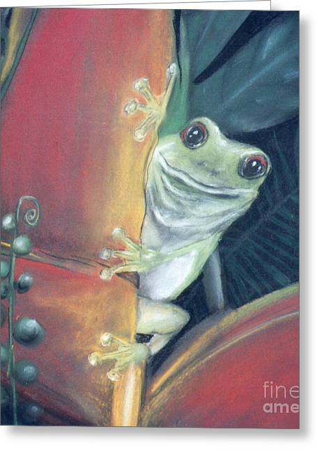 Amphibians Pastels Greeting Cards - Smily Frog Greeting Card by Caroline Peacock