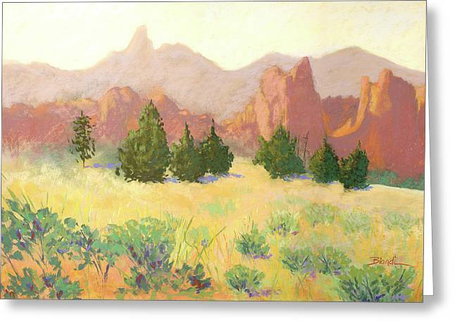 Cliffs Pastels Greeting Cards - Smith Rock Greeting Card by Janet Biondi