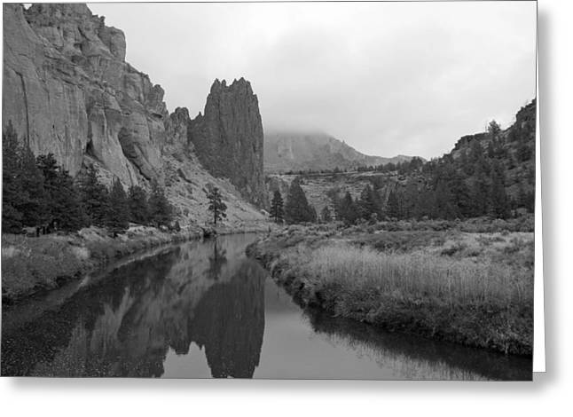 Smith Rock State Park In Black And White Greeting Card by Twenty Two North Photography