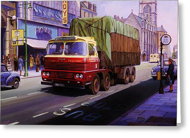 Streetscenes Paintings Greeting Cards - Smiths Scammell Routeman II Greeting Card by Mike  Jeffries