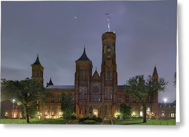 Flag Greeting Cards - Smithsonian Castle Greeting Card by Metro DC Photography