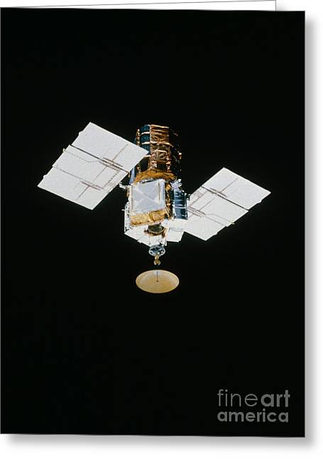 Astronomical Research Greeting Cards - Smm Satellite In Space After Repair Greeting Card by NASA / Science Source