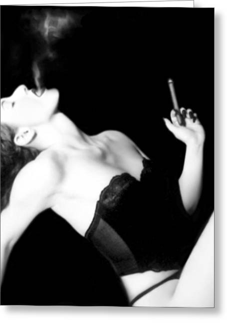 Desire Greeting Cards - Smoke and Seduction - Self Portrait Greeting Card by Jaeda DeWalt