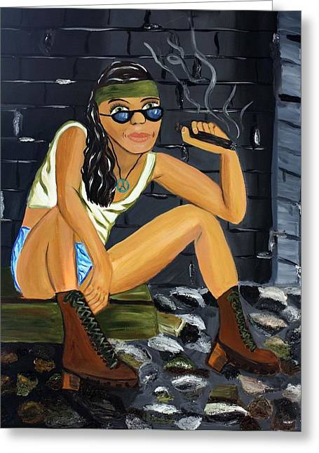Tomboy Mixed Media Greeting Cards - Smoke Break  Greeting Card by Victoria  Johns