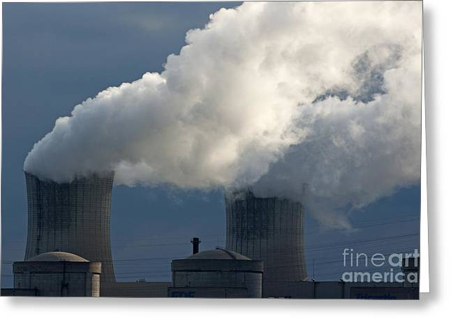 Power Plants Greeting Cards - Smoke chimneys of Tricastin Nuclear Power Plant Greeting Card by Sami Sarkis