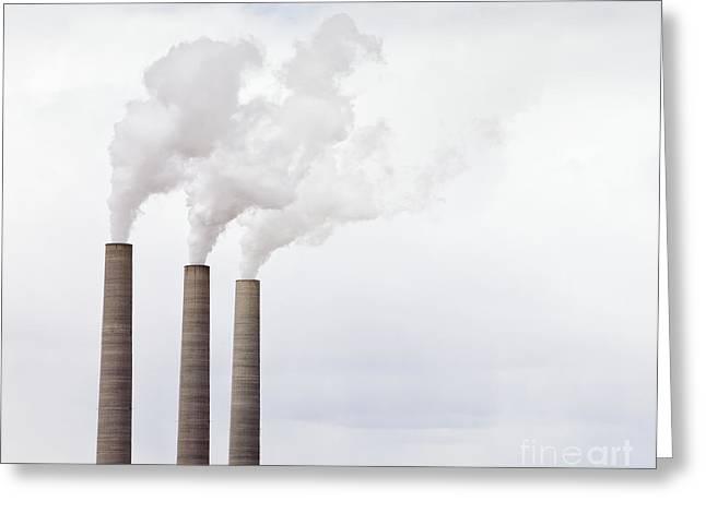 Power Plants Greeting Cards - Smoke Coming From Three Smokestacks Greeting Card by Paul Edmondson