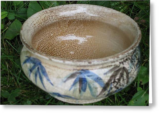 Fired Ceramics Greeting Cards - Smoke-Fired Bamboo Leaves Bowl Greeting Card by Julia Van Dine