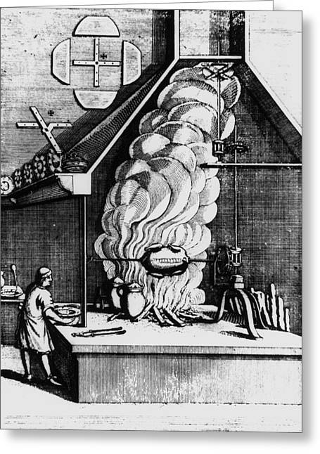 17th C Greeting Cards - Smoke From A Fire Driving A Turbine In A Chimney Greeting Card by