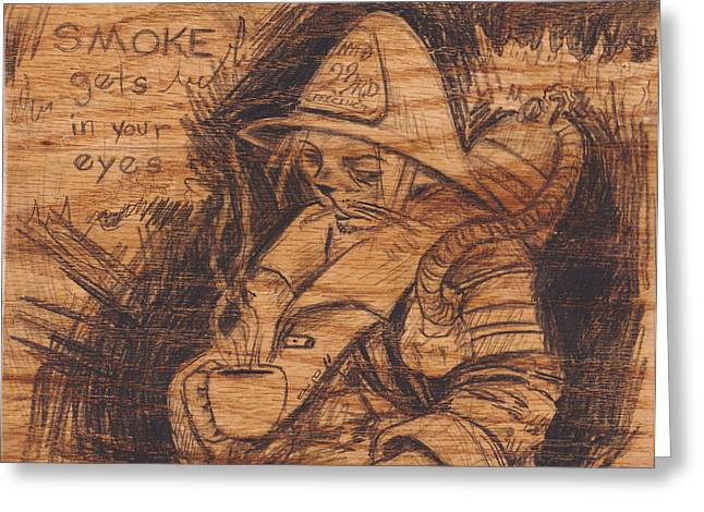 Terrorist Drawings Greeting Cards - Smoke Gets In Your Eyes Greeting Card by Canis Canon