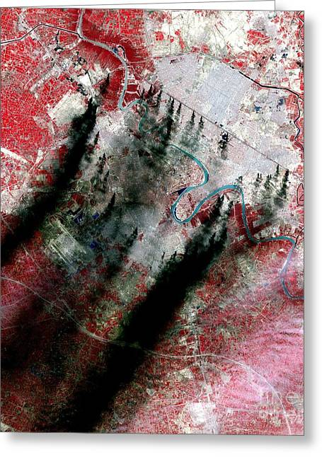 Baghdad Greeting Cards - Smoke Plumes Over Baghdad, Iraq Greeting Card by NASA / Science Source