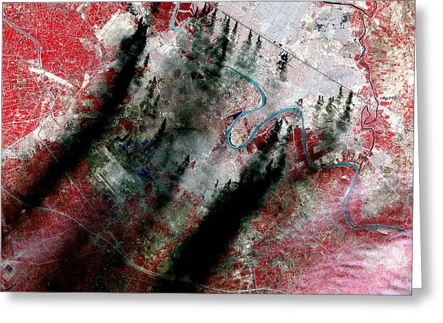 Smoke Plumes Over Baghdad, Iraq Greeting Card by NASA / Science Source