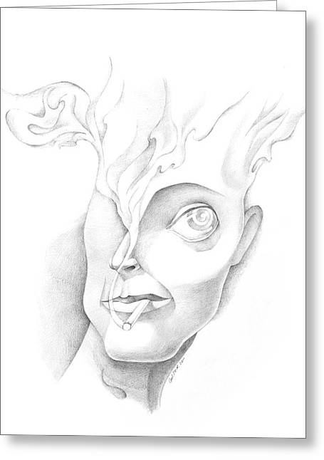 Bad Drawing Greeting Cards - Smoker Greeting Card by Denys Golemenkov