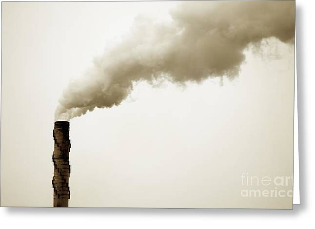 Billowing Greeting Cards - Smokestack Greeting Card by Bryan Mullennix