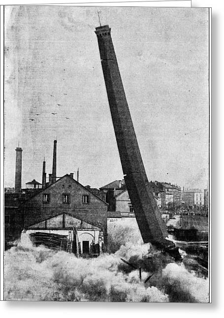 Detonating Greeting Cards - Smokestack Demolition, 19th Century Greeting Card by