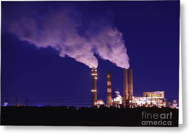 Beach At Night Greeting Cards - Smokestacks Billowing Smoke  At Night Greeting Card by Skip Nall