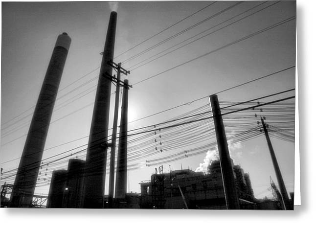 Power Plant Framed Prints Greeting Cards - Smokestacks Greeting Card by Steven Ainsworth