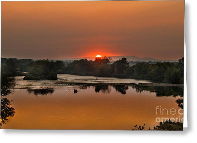 Landsacape Greeting Cards - Smokey sunset on the Payyett River Greeting Card by Robert Bales