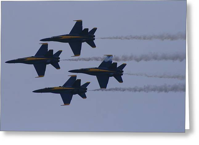 F-18 Greeting Cards - Smokin Blue Angels  Greeting Card by Christopher Kirby