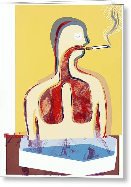 Disease-causing Greeting Cards - Smoking And Lungs Greeting Card by Paul Brown