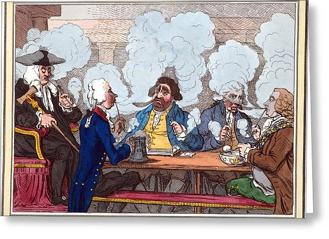 Choking Greeting Cards - Smoking Club, 18th Century Artwork Greeting Card by George Arents Collectionnew York Public Library