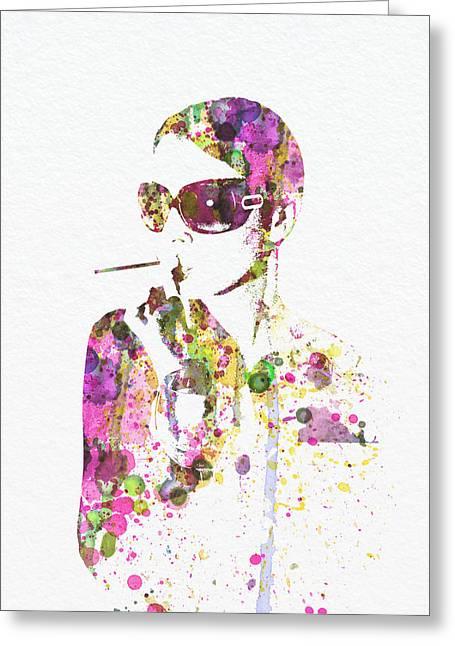 Images Of Woman Greeting Cards - Smoking in the Sun Greeting Card by Naxart Studio