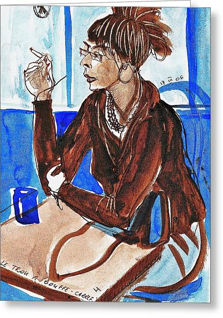 Fast Food Drawings Greeting Cards - Smoking Lady Greeting Card by Ion vincent DAnu