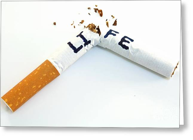 Prohibitions Greeting Cards - Smoking shortens life Greeting Card by Blink Images