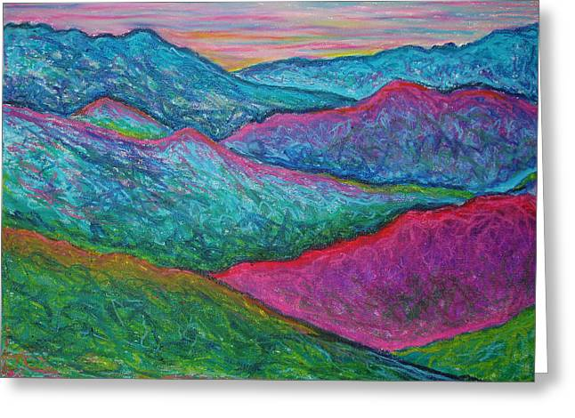 Blue Pastels Greeting Cards - Smoky Mountain Abstract Greeting Card by Nancy Mueller